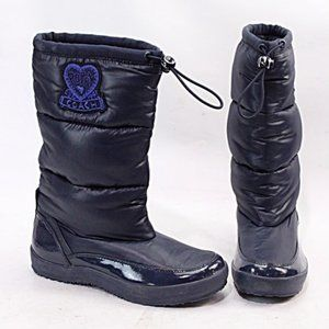 Coach Patsy Poppy Puffer Boots in Navy, Size 7.5
